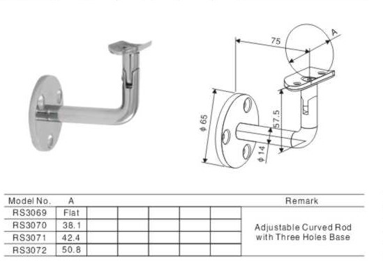 Wall mounted stainless steel exterior stair handrail railing bracket for Exterior wall mounted handrails for stairs
